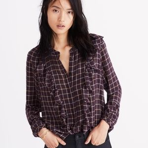 NWT Madewell plaid ruffle front Metallic blouse